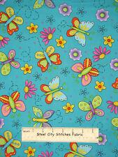 VIP Novelty Butterflies Butterfly Daisy Flower #76476 AQUA Cotton Fabric YARD
