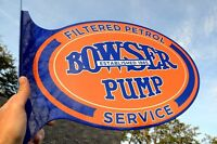 OLD STYLE BOWSER WAYNE GAS PUMP 2 SD THICK STEEL FLANGE SIGN SUPER! MADE IN USA!