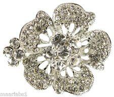 Broche Plata Diamante Flor diamantes de imitación zapatos Pin Bridal Bouquet Cake-Nuevo-Uk