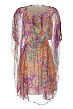 BLUMARINE Multicolor Silk Caftan Dress (Size 46)
