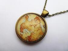 Peter PAN NEVERLAND Mappa invecchiato Antico Bronzo Collana con Pendente Tondo