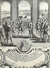 Re Luigi XII e Stephen Napoli Incisione originale Nicolas de Fer 1722