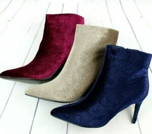 Womens Ankle Boots Ladies Mid High Heel Zip Booties Shoes Taupe , Wine , Blue