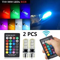 2Pcs T10 RGB 5050 LED Car Wedge Side Light Bulb With Remote Control
