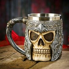 Striking Warrior Tankard Viking Skull Beer Mug Gothic Helmet Drinkware Vessel