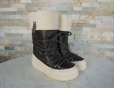 Napapijri Gr 36,5 Botas de Nieve Piel Bella Zapatos Invierno Marrón Nuevo