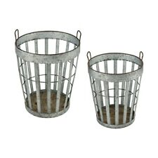 Elk Home Applejack Baskets (Set Of 2), Salvaged Gray Oak, Steel - 3138-415-S2