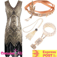 Gatsby costume ebay deluxe ladies 20s 1920s roaring flapper costume sequin gatsby 20s fancy dress gumiabroncs Gallery