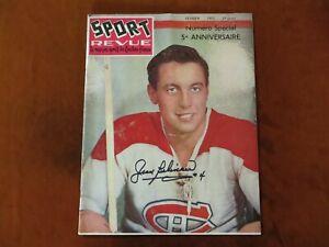 Vintage Jean Beliveau Signed Sport Revue Magazine February 1957 Hockey