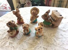Vintage Lot 7 Pendelfin Rabbits~Musical Family~Thumper With Piano~Rocky~Phump~+