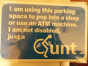 disabled parking funny sign  tin metal sign MAN CAVE brand new