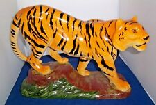TIGER STATUE LG Ceramic Tiger w Black Stripes Animal made in USA Ex LG 20""