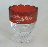 "Ruby Flash Illinois State Fair 1939 Toothpick 2 1/8"" Souvenir Etched EAPG"