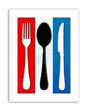 FRENCH FLAG CUTLERY KITCHEN BEDROOM FOOD PHOTO Poster Picture Canvas art Prints