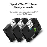 3 packs Black on White Label Tape Compatible with Brother TZe 231 P-Touch 12mm