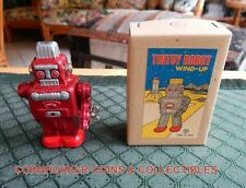 VINTAGE MECHANICAL WIND-UP TINTOY ROBOT BOXED ~ SANKO JAPAN ~  NEW OLD STOCK!