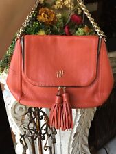 CAROLINA HERRERA CH LOGO GRAINED LEATHER TASSEL PUMPKIN COLOR HANDBAG