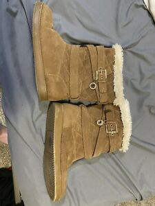 G by Guess 'Babez' Winter Boots Womens Size 6.5 M Tan Brown Fabric Faux Fur VGUC