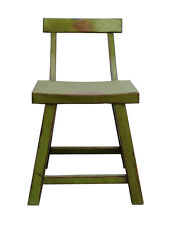 Distressed Lime Green Short Chair Stool with Back cs2255