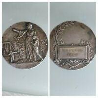 Medalla Bronce Plateado Antiguo Gimnasia 1930 Firmado Por C.Charles