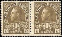 Mint H Canada Pair 2c+1c 1916 F Scott #MR4 War Tax Stamps