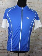 Louis Garneau Men's XL Blue White Short Sleeve Full Zip Cycling Jersey