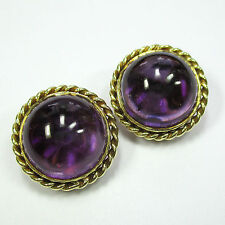 203 - Exquisite 19 mm Ohrclips - Gelbgold 585 - Amethyst - 1759