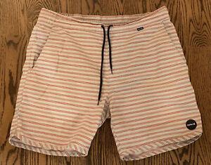 HURLEY Men's Sz. LG Aqua & Red Striped Board Shorts Bathing Suit Swim Trunks GUC