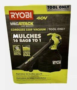 RYOBI 40 Volt Leaf Vacuum Mulcher Cordless Lithium Ion Tool & Bag NEW Bare tool