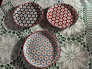 3 Christopher Vine Australia Side Plates Cotton Bud Dark Blue- Red- Light blue