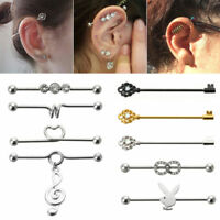 14g Surgical Stainless Steel Bar Scaffold Ear Barbell Ring Body Piercing Jewelry