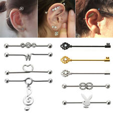 14G  Surgical Steel Silver Industrial Barbell Bar Ear Ring Piercing Jewellery