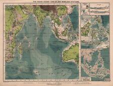 Océano Índico. cables y estaciones inalámbricas tierra visibilidad c1914 Mapa Antiguo.