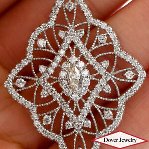 Estate 2.00ct Diamond Platinum Lovely Filigree Pendant 10.4 Grams NR