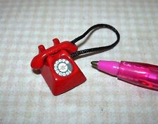 Miniature Economical Red Metal Phone, Loose Receiver: DOLLHOUSE 1/12 Scale