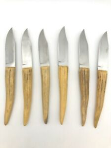 6 Piece Stag Horn hand made Knives with Case Vintage Blades Not Used