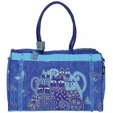 Laurel Burch Canvas Cat XL Travel Tote Luggage Bag Blue Indigo Cats #LB414 NEW