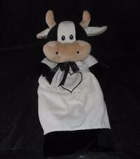 "18"" CREATURE COMFORTS BLACK & WHITE FARM COW SECURITY BLANKET STUFFED PLUSH TOYS"