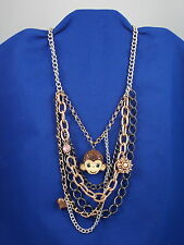 Betsey Johnson Tri Tone Enamel Pave' Monkey Flower Multi Chain Necklace $68