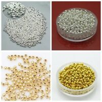 Multi Size Gold Silver Plated Round Ball Jewelry Diy SPACER BEADS 2.5-6mm Making