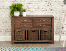Mayan Solid Walnut Dark Wood Console Table With Wicker Baskets and Drawers
