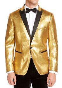 INC Mens Blazer Gold Size 2XL Sequined Slim Fit Contrast Peak-Lapel $149 003