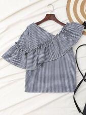 Blusa asimmetrica a quadretti vichy blu bianco con rouches stile vintage retrò