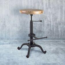 Industrial Breakfast Kitchen Bar Stool Black Cast Iron Wooden Seat Wood Metal