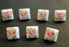 "7 Vintage White Square Shank Buttons Hand Painted Roses 3/8"" So Pretty!!"