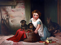 """perfect 36x24 oil painting handpainted on canvas""""little girl,dogs,cat """"NO4001"""