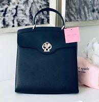 NWT Kate Spade Nicola Romy Twistlock Top Handle Or backpack BLACK Leather Authen