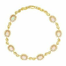 1 1/2 Ct Created Opal & Pink Sapphire Link Bracelet in 14k Gold-plated Sterling