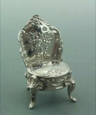 VICTORIAN MINIATURE DUTCH  STERLING SILVER CHAIR IMPORT MARKS LONDON 1897