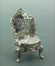 Vittoriano Miniatura Olandese Argento Sterling Segni di importazione Sedia Londra 1897